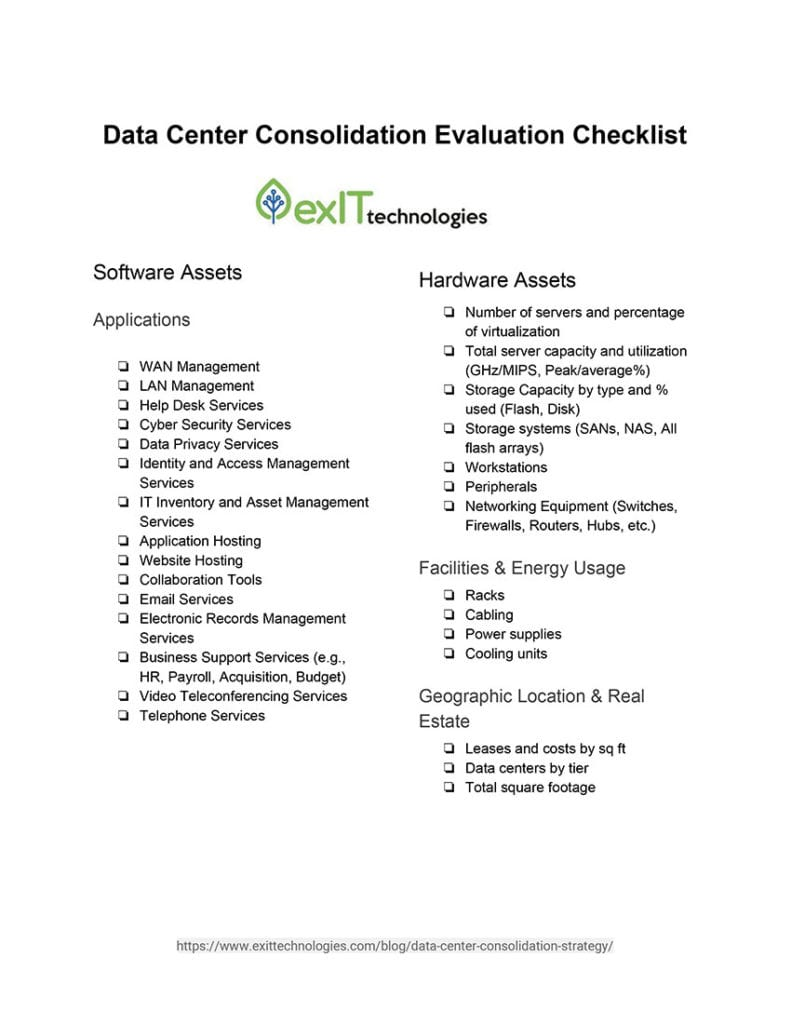 data center consolidation checklist