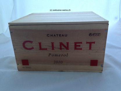 Eine original Holzkiste mit 6 Flaschen Chateau Clinet 2010
