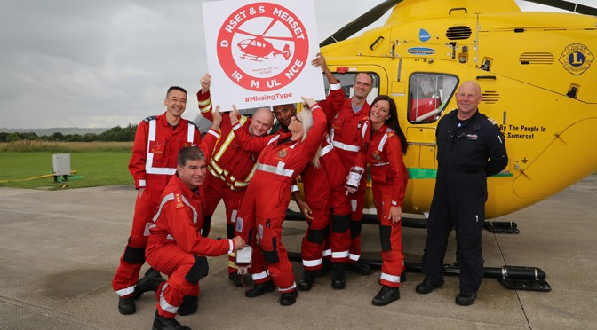 DORSET AND SOMERSET AIR AMBULANCE BACK MISSING TYPE CAMPAIGN