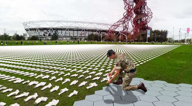 UNVEILING OF THE SHROUDS OF THE SOMME AT QUEEN ELIZABETH OLYMPIC PARK
