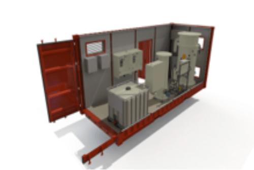 Modélisation 3D d'un ensemble de flottateurs dans un container MobiCell