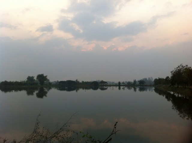 the lake at sunrise
