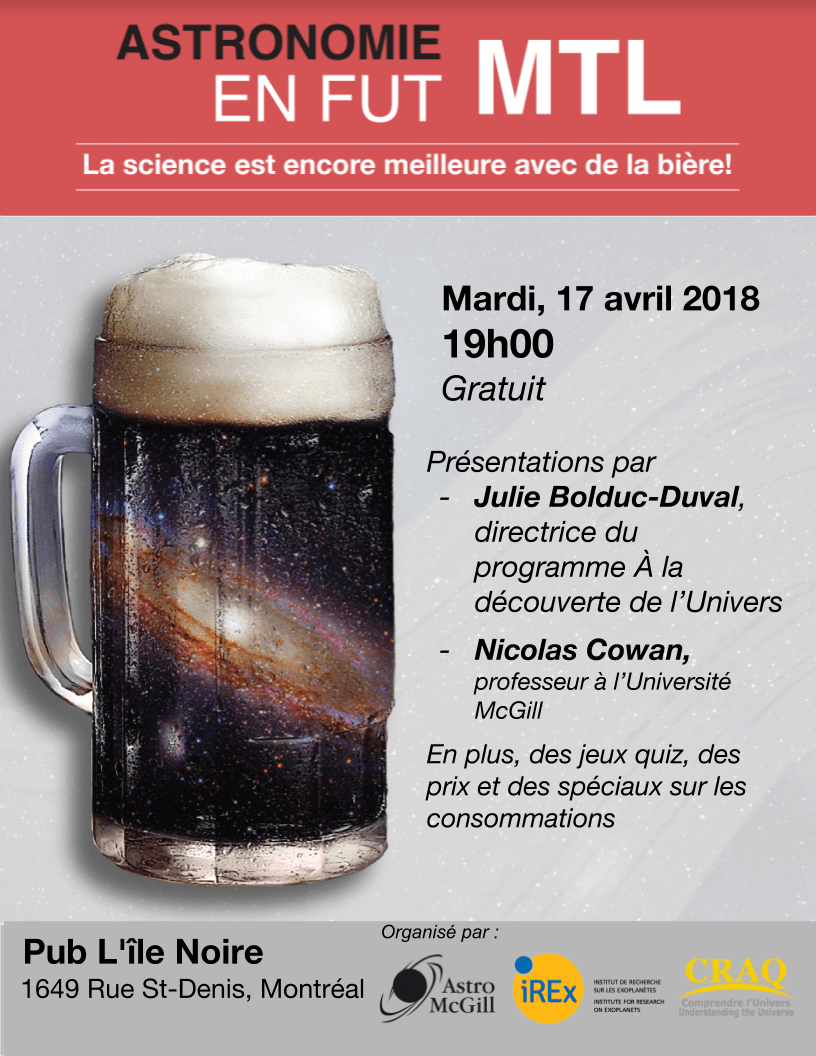 Astronomy on Tap – MTL (in French) – April 17th at 7:00PM ...