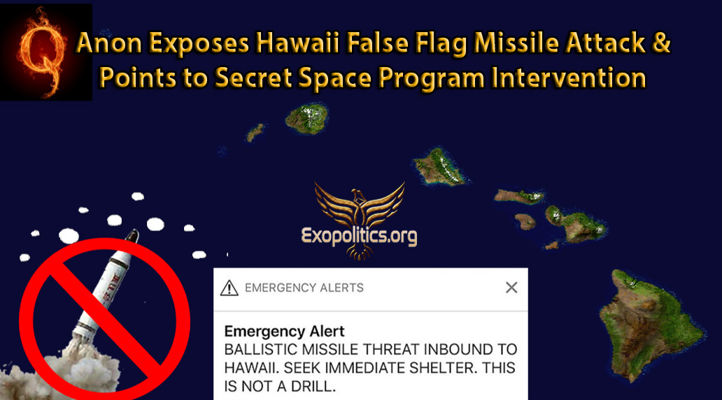 Майкл Салла. QАнон разоблачает Гавайскую ракетную атаку под ложным флагом и указывает на  вмешательство секретной космической программы. QAnon-Hawaii-FF-and-Intervention