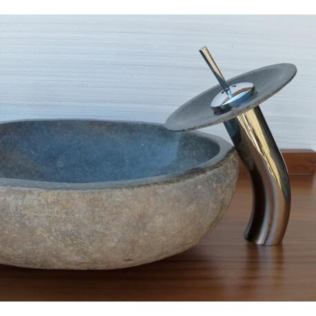 Robinet mitigeur cascade avec coupelle en pierre pour vasque