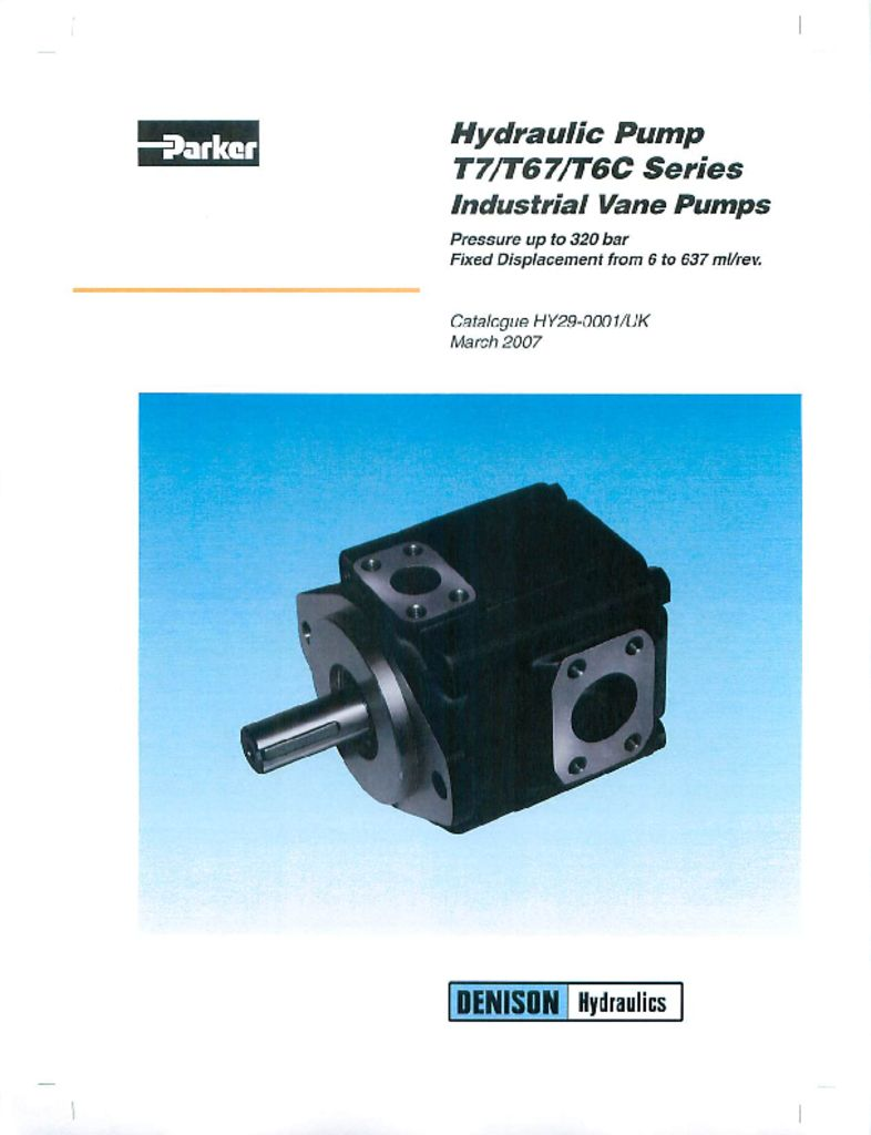 hight resolution of parker hydraulic pump t7 t67 t6c series industrial vane pumps catalog hy29 0001 uk