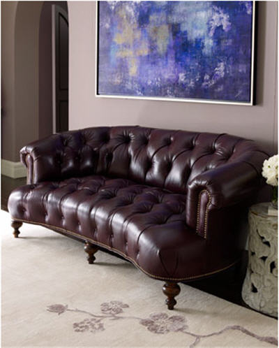 """aubergine leather sofa natural milan kingston 3 seat set old hickory tannery """"pressley"""" tufted"""