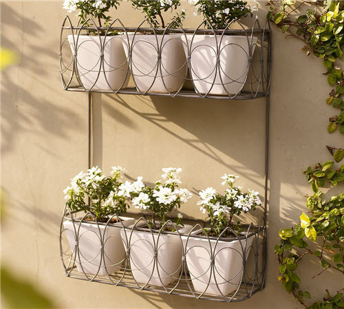 Outdoor decor french wire wall mount planter - Wall mounted planters outdoor ...