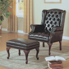 Tufted Chair And Ottoman Sewing Machine Monarch Specialties Wing Leather Look