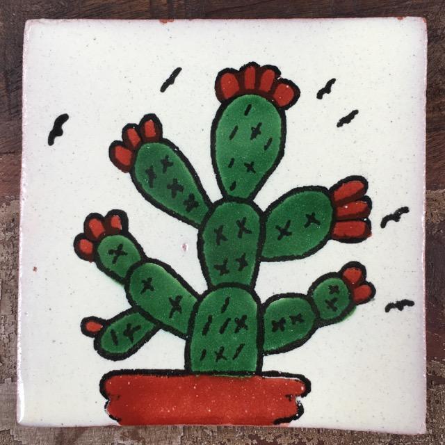 talavera tile white cacti