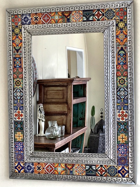 mexican style kitchen decor space saving table tin & tile mirror: large - furniture lighting ...