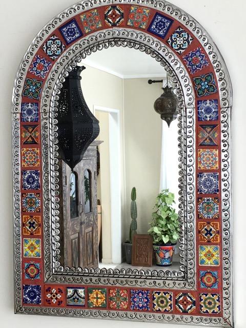 arch mexican tin tile mirror orange