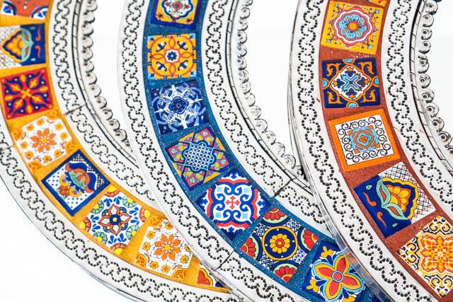 round mexican tin tile mirror blue