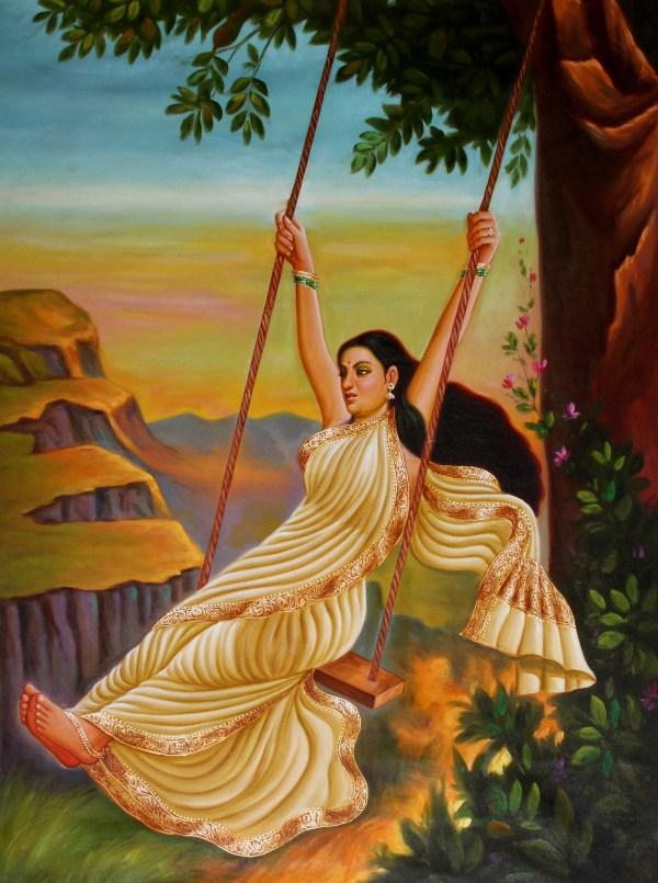 Lady Swinging Painting