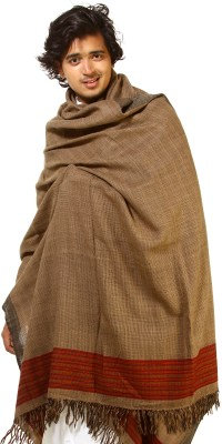 Otter-Brown Kullu Men's Shawl with Kinnauri Woven Border