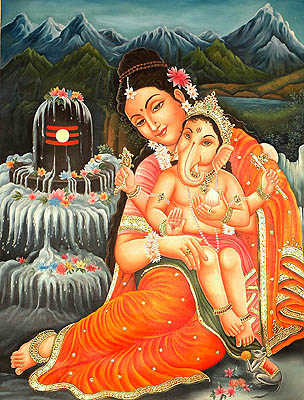 Baby Ganesa Seated in the Lap of Mother Parvati in Kailash