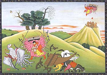 Ravana fights Jatayu ... and his mules seem shaken