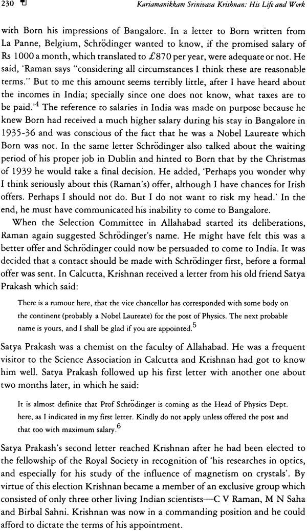 Kariamanikkam Srinivasa Krishnan His Life and Work