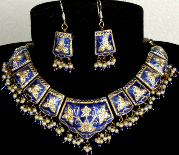 Persian-Blue Mughal Meenakari Necklace and Earrings Set with Floral Motif