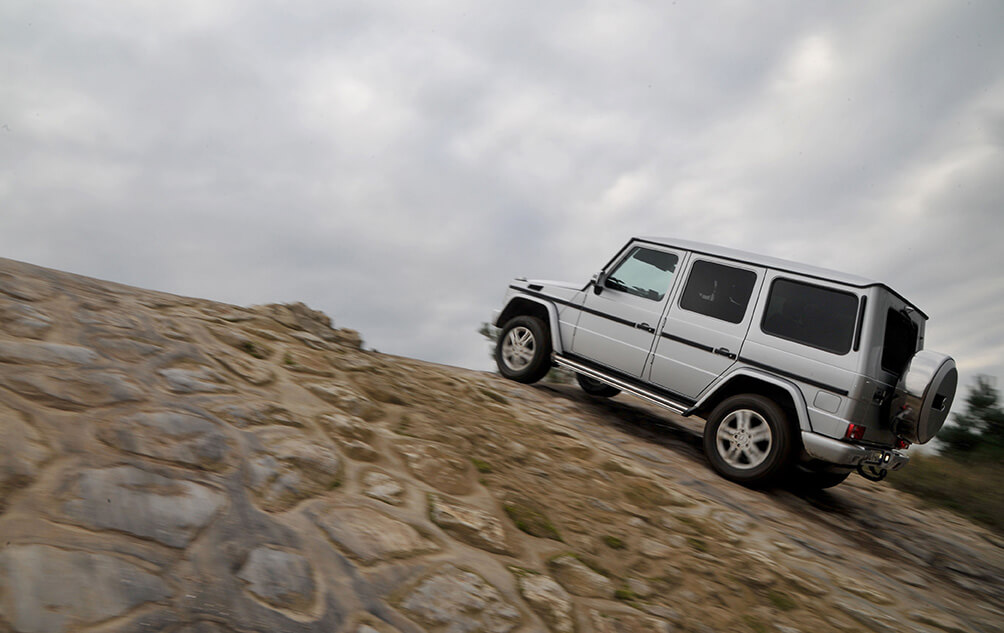 Mercedes G350 AMG G Wagon luxury hard core off road car on a steep slope