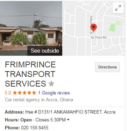 Google My Business Listing for Frimprince Transport Services