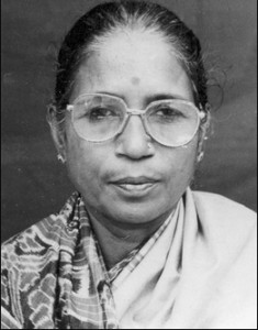Black and white photo of Shanti Devi as an adult.