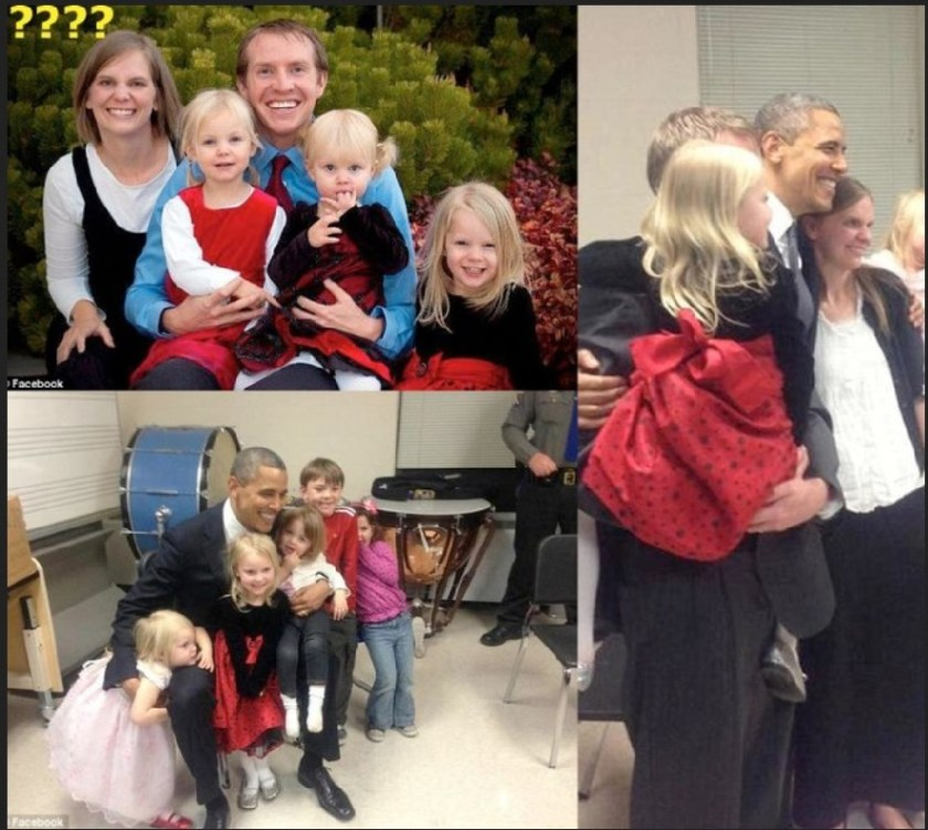 The Parker family, shown here with Obama.