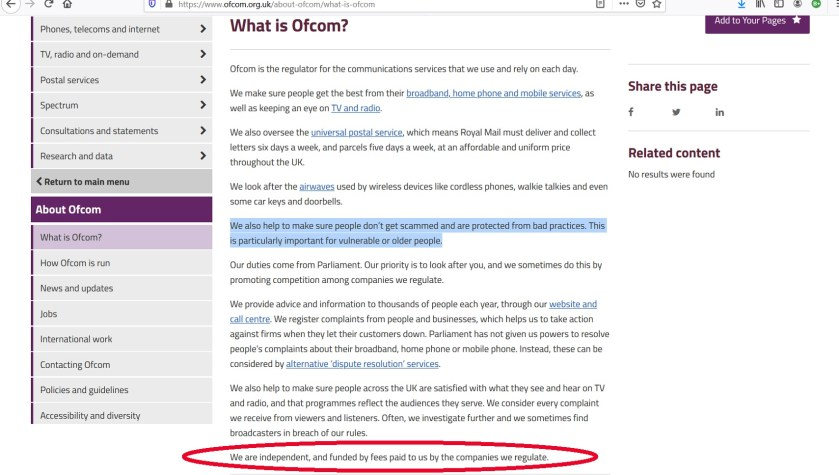 Ofcom website showing its regulations.