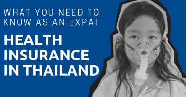 A girl wearing an oxygen mask with the title: Health Insurance in Thailand: What You Need to Know as an Expat