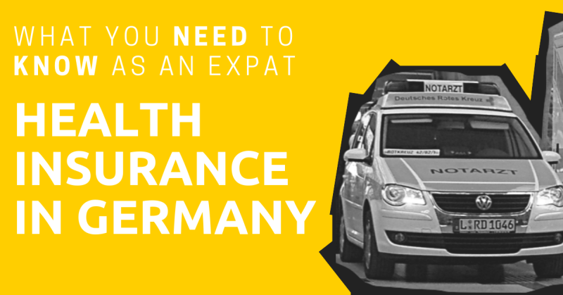 A picture of a German ambulance with the title: Health Insurance in Germany: What You Need to Know as an Expat