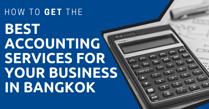 A calculator, pen, and pad and the title: How to Get the Best Accounting Services for Your Business in Bangkok.