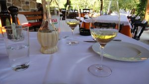 Dining table with local wine