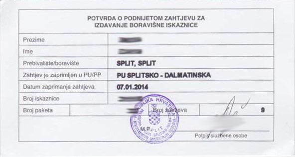 Croatia National ID Visa Request Card