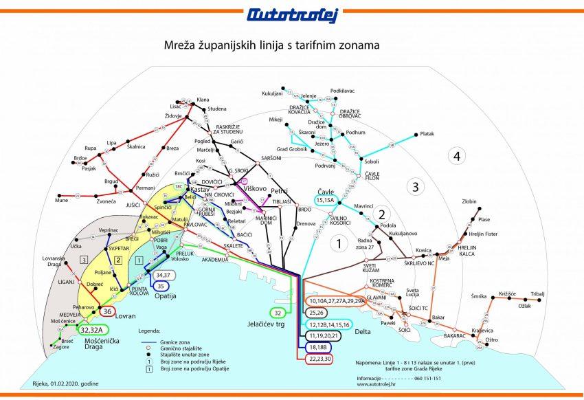 Bus zone map of Rijeka