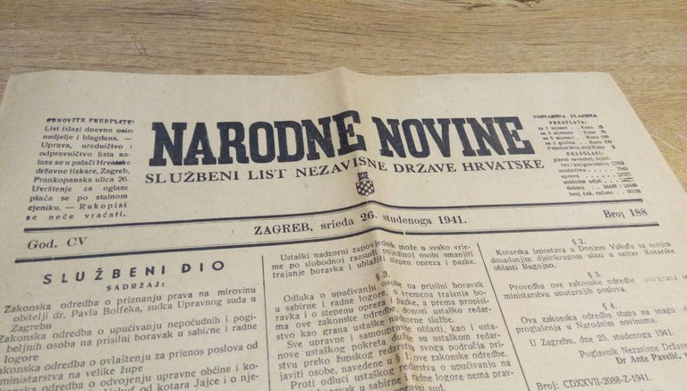 Narodne Novine newspaper from 1941