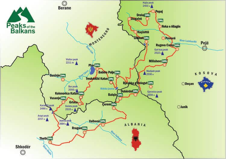 Peaks of the Balkans trail route map