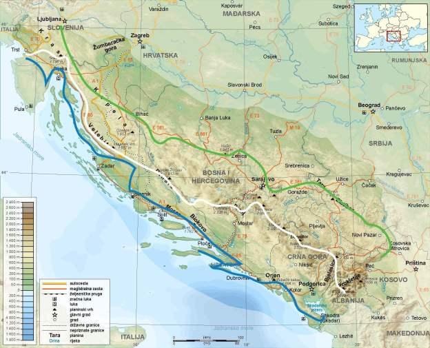 Via Dinarica Trail Routes - Blue, White, Green