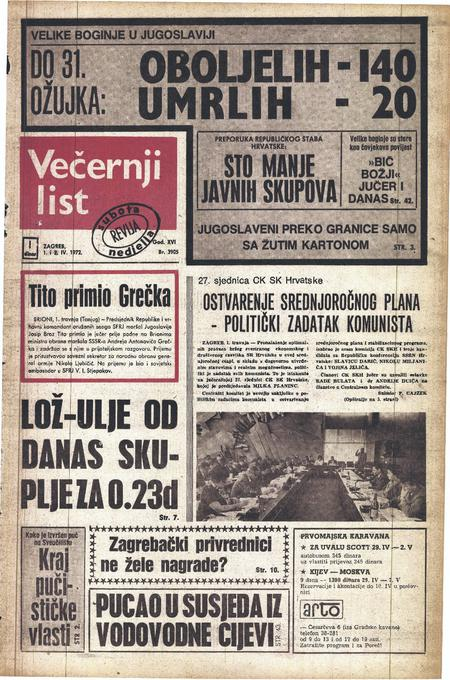 Vecernji List reporting on the smallpox epidemic in Yugoslavia
