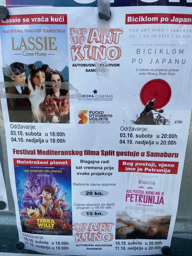 Flyer from movie theater in Samobor, Croatia
