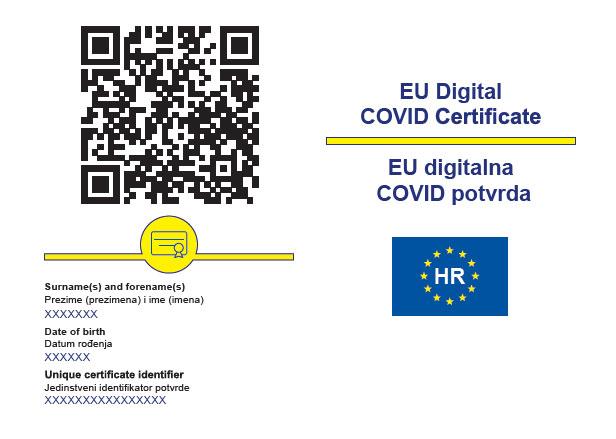 COVID-19 EU Digital Certificate (Passport) in Croatia