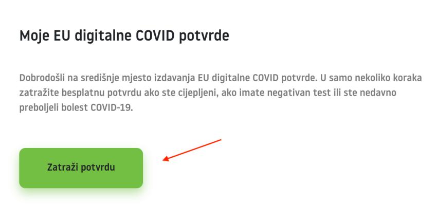 Screenshot of request for EU digital certificate