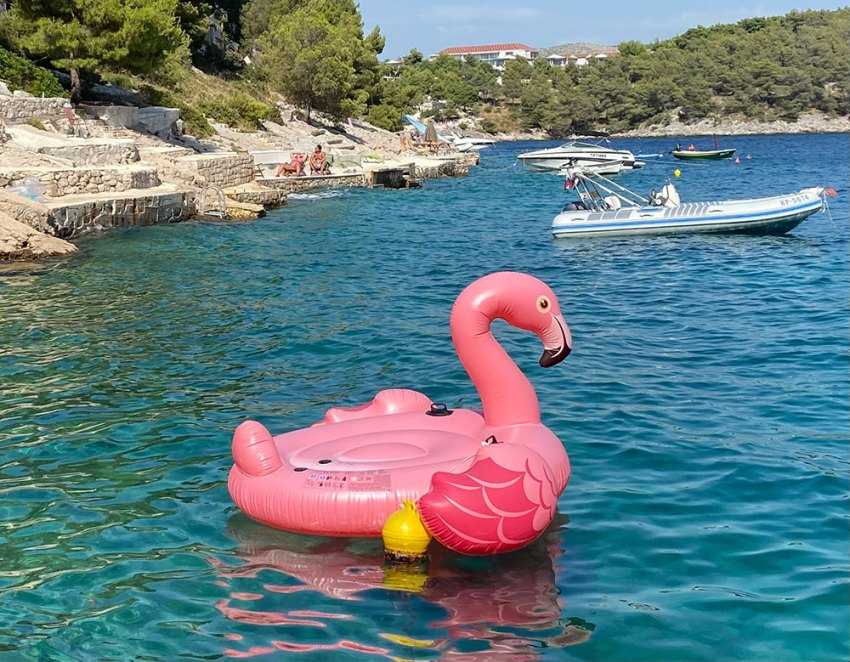 Flamingo float in Croatia