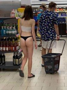 Woman in a Lidl supermarket in Croatia