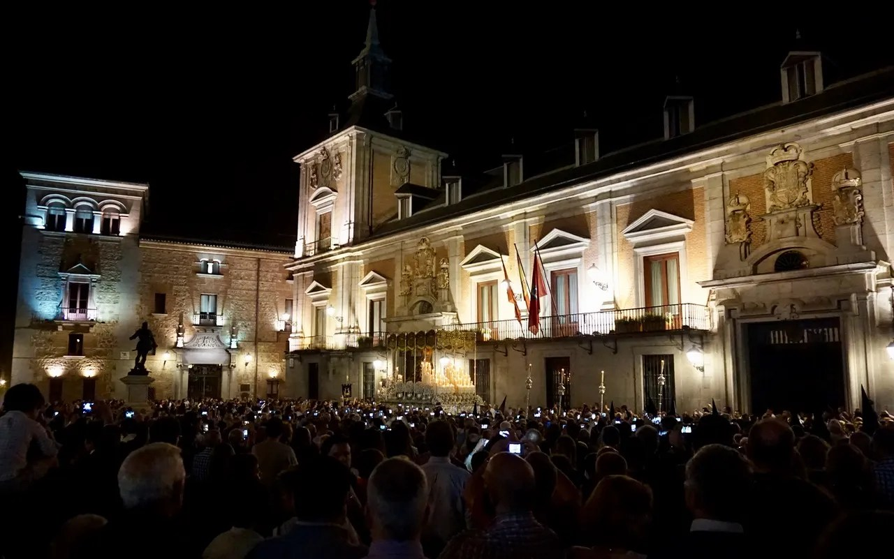 holy week in spain. plaza de la villa, madrid