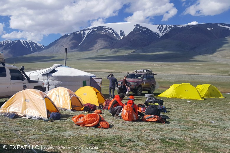 paragliding expedition camped at the foot of the Altai Mountains