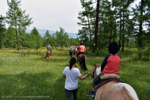 horse riding with children on lead