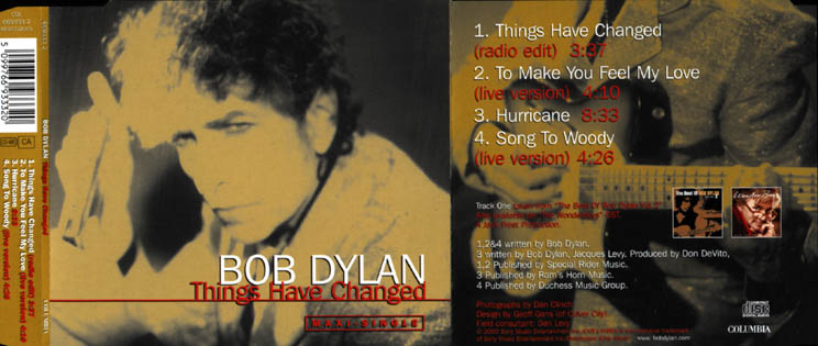 Bob Dylan - Things Have Changed CD single