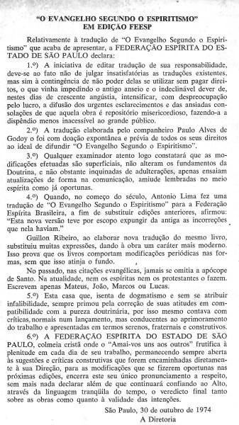 O documento oficial da Federação Espírita de São Paulo.