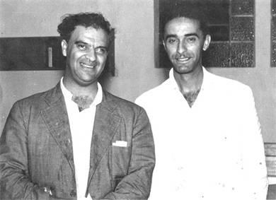 Chico Xavier e seu irmão, André Luiz, em março de 1952.