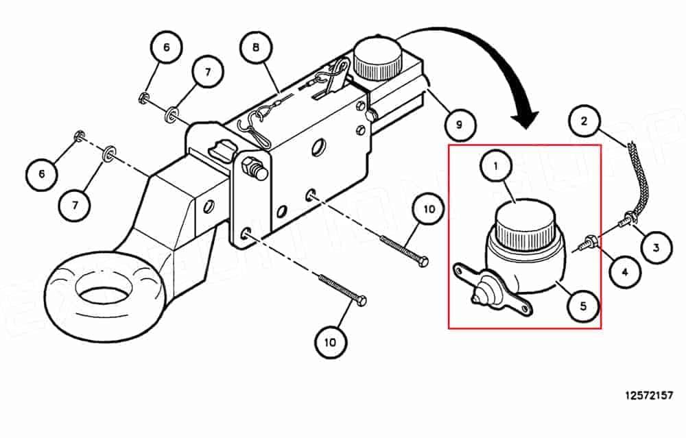HMMWV trailer surge brake cylinder